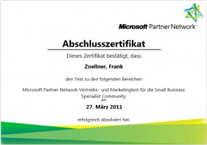 öfter Microsoft Partner Network-Vertriebs- und Marketingtest für die Small Business Specialist Community