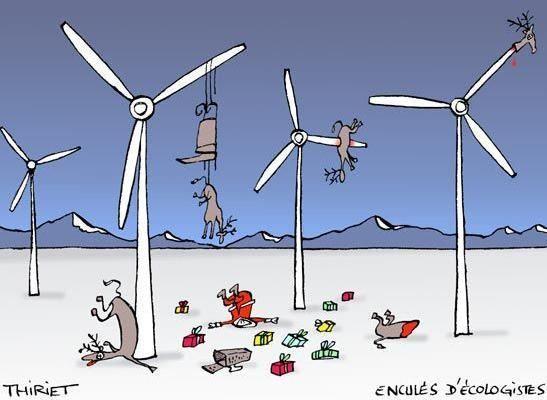 öfter Weihnachtsmann und Rentiere in Windkraftanlage - Weihnachten fällt aus