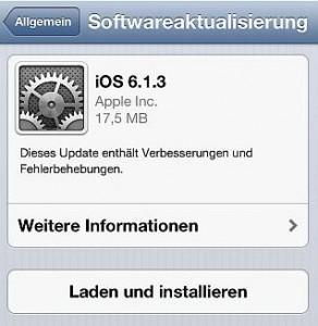 öfter Apple - Sicherheitsupdate 6.1.3 - iOS