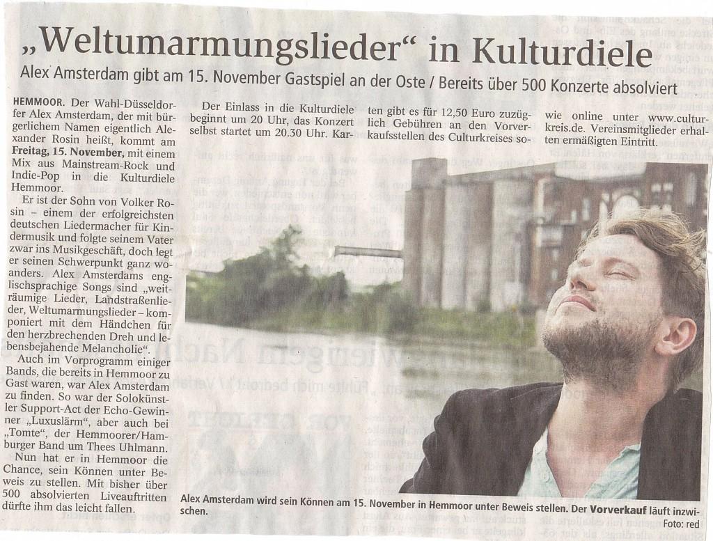 öfter Alex Amsterdam - Weltumarmungslieder - Kulturdiele Hemmoor - Culturkreis Hemmoor e. V.